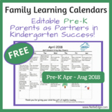 PreK Family Learning Calendar (April-August 2018)