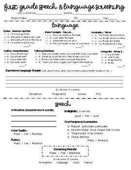 Speech and Language Screenings Bundle (PreK-1)