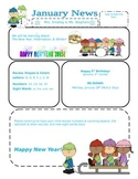 PreK January Newsletter Template
