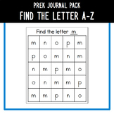 PreK Journal Pack - Find the Letter A to Z