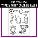 """PreK Journal Pack - """"Starts With"""" Coloring Pages A to Z"""