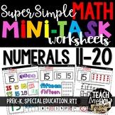 Super Simple Math: Number Worksheets, Numerals 11-20, Number Sense, NO PREP