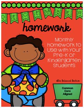 PreK/K Homework, December, Monday thru Thursday