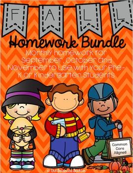 PreK/K Homework, FALL Bundle, Monday thru Thursday