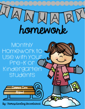 PreK/ K Homework, January, Monday thru Thursday