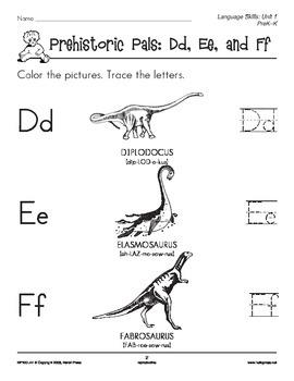 PreK-K Language Arts Unit 1: Prehistoric Pals ABC Alphabet Skills
