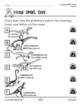 PreK-K Language Arts Unit 2: Prehistoric Pals Lowercase and Uppercase Letters