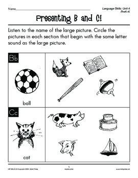 PreK-K Language Arts Unit 4: Consonant Sounds