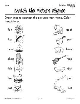 PreK-K Language Arts Unit 5: Rhyming Words