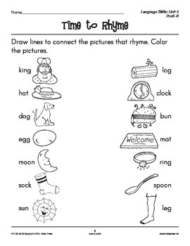 PreK-K Language Arts Unit 5: Rhyming Words by Hello Press ...