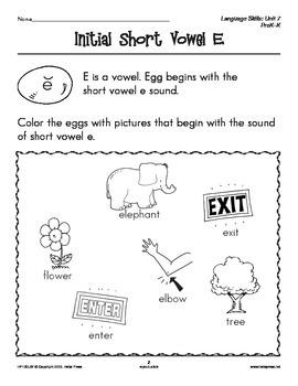 PreK-K Language Arts Unit 7: Short Vowel Sounds