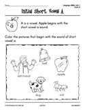 PreK-K Language Arts Unit 7: Short Vowel Sounds
