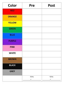 PreK/K color assessment