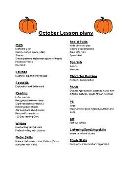 PreK/Kinder Comprehensive October Curriculum Outline