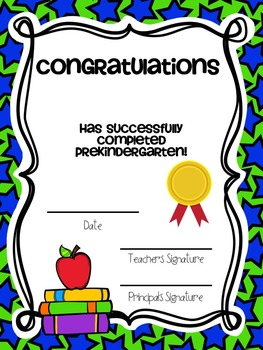 PreK & Kindergarten Promotion Certificates: Portrait