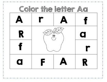 PreK Letter A Color Worksheet