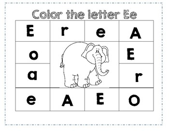 PreK Letter E Color Worksheet by Ashleigh B Madsen | TpT