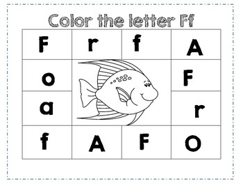 PreK Letter F Color Worksheet