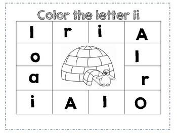 PreK Letter I Color Worksheet