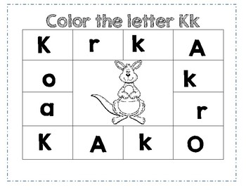 PreK Letter K Color Worksheet by Ashleigh B Madsen | TpT