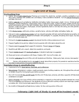 Pre K Light Unit of Study Planning Guide