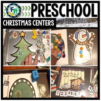 Preschool Christmas Literacy & Math Activity Centers