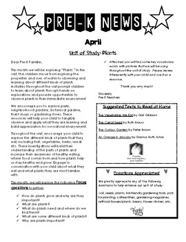 PreK Newsletter April Plant Unit