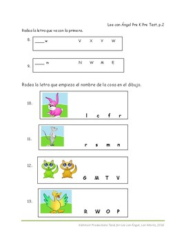 PreK Pre-reading test in Spanish