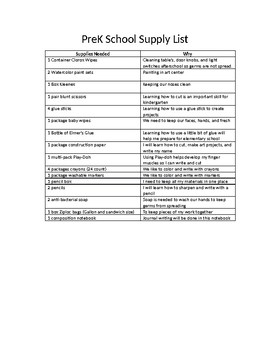 PreK School Supply List