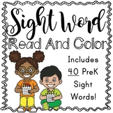 PreK Sight Word Read and Color