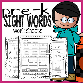 Pre Kindergarten Sight Words Word Work