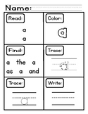 PreK Sight Words Worksheets [40 Sight Words]