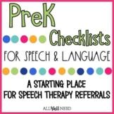 PreK Speech and Language Checklists