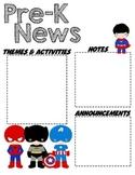 PreK SuperHero - Editable Word Newsletter