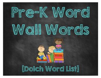 PreK Word Wall Words [Chalkboard Style]