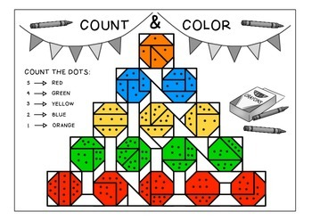 PreK and K coloring math - numbers 1 to 5
