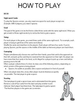 PreK and Kindergarten Sight Words Spoons Game Best Seller