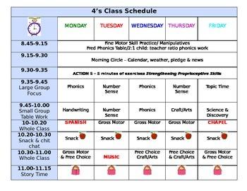 PreK / preschool Half day class schedule