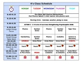 PreK / preschool Half day class schedule