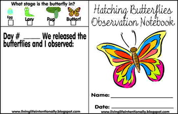 Pre/K/1st/2nd Science - Hatching Butterflies Observation Book