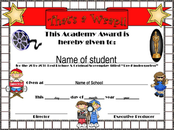 PreKinder Hollywood Themed End of Year certificate