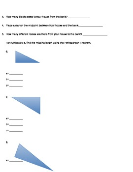 Pre/Post Test on Taxicab Geometry and Pythagorean Theorem