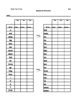 PrePrimer Dolch Sight Words Assessment Checklist