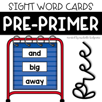PrePrimer Sight Word Cards for Word Wall, Pocket Chart, Flash Card