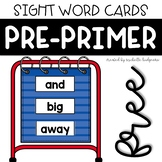 PrePrimer Sight Word Cards for Word Wall, Pocket Chart, Fl