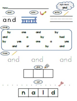 PrePrimer Sight Word Practice Pages