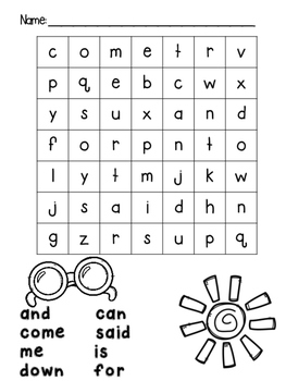 PrePrimer Sight Word Search and Write - Dolch PrePrimer Word Finds