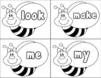PrePrimer Sight Words on Bumble Bees