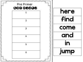PrePrimer Word Work