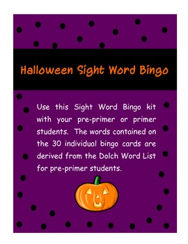PrePrimer and Primer Sight Word Halloween Bingo